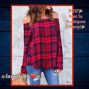 Off the Shoulder Plaid Top LAST ONE! 🎉HP🎉